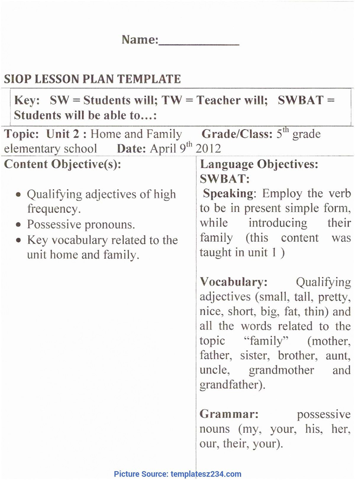009 Impressive Siop Lesson Plan Template 1 Example Photo Full