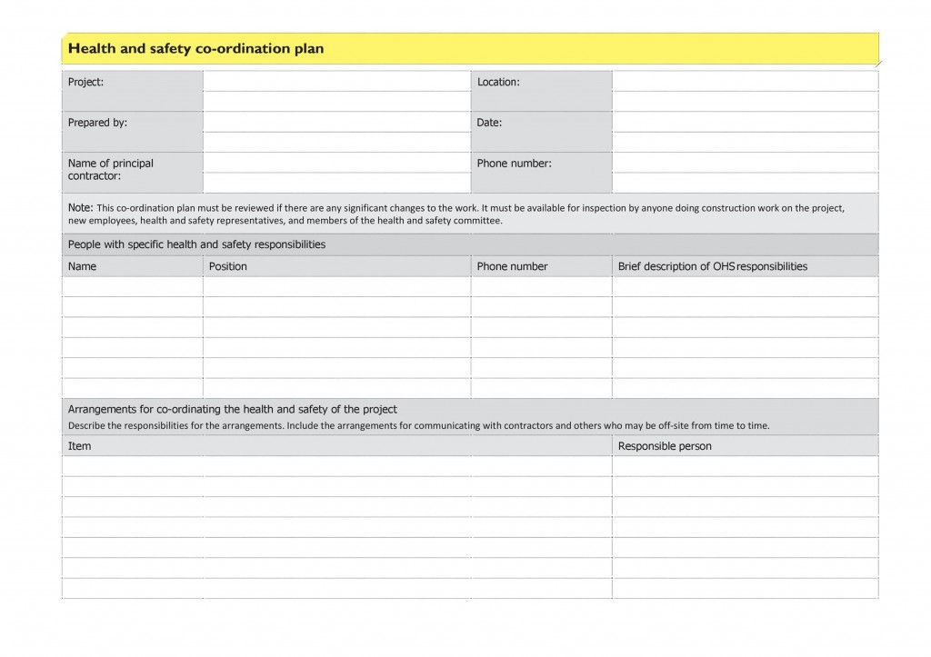 009 Impressive Site Specific Safety Plan Checklist Example Picture Large