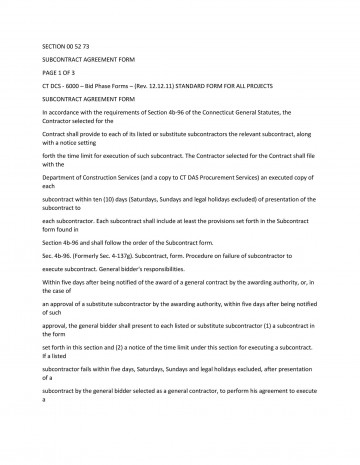 009 Impressive Subcontractor Contract Template Free High Def  Uk360