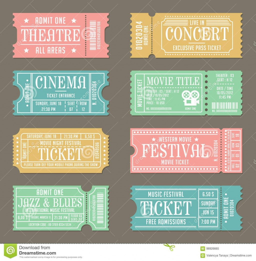 009 Impressive Vintage Concert Ticket Template Free Download Image Large