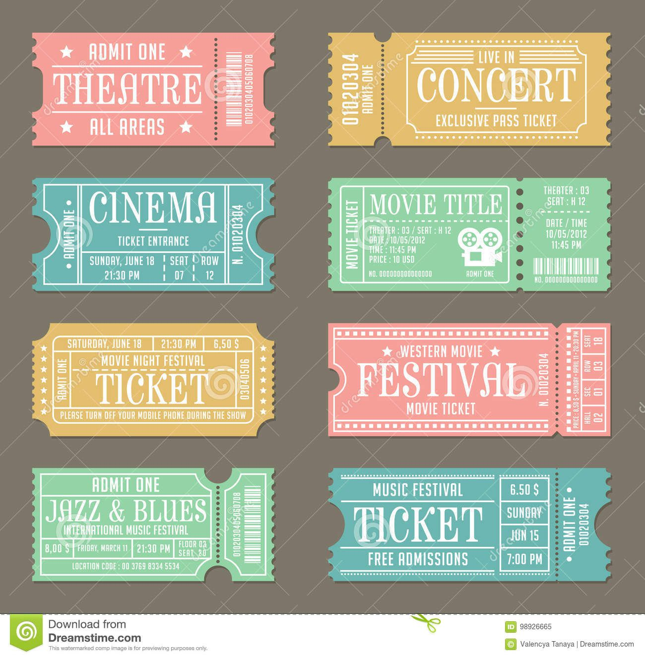 009 Impressive Vintage Concert Ticket Template Free Download Image Full