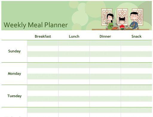 009 Impressive Weekly Meal Planner Template Excel Highest Quality  Downloadable Plan EditableFull