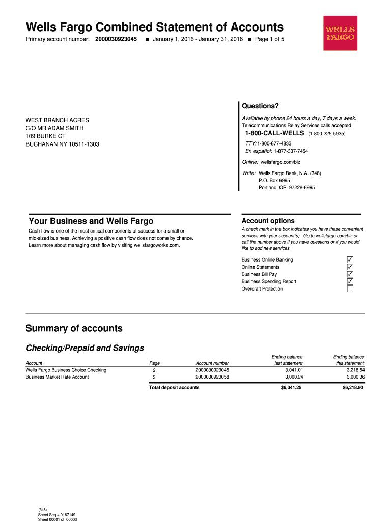 009 Impressive Well Fargo Bank Statement Template Design  Fillable EditableFull