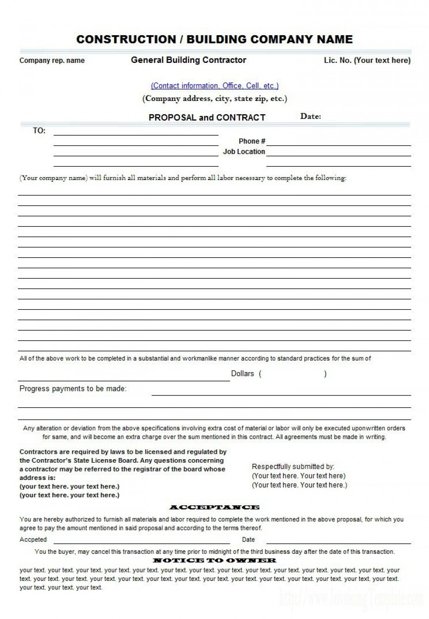 009 Incredible Construction Busines Form Template Photo 868
