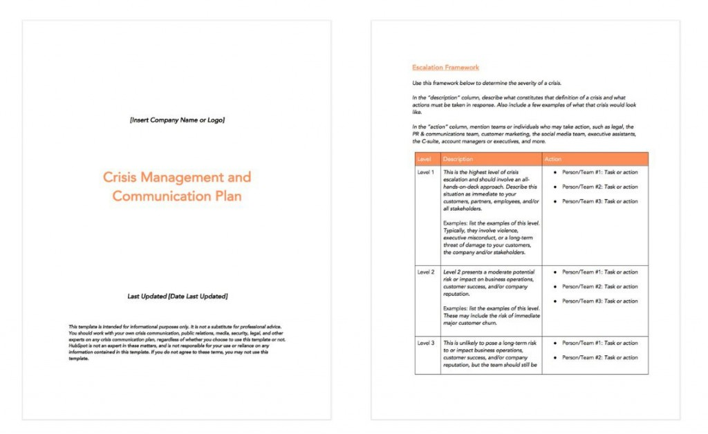 009 Incredible Crisi Communication Plan Template Example  For Higher Education NonprofitLarge