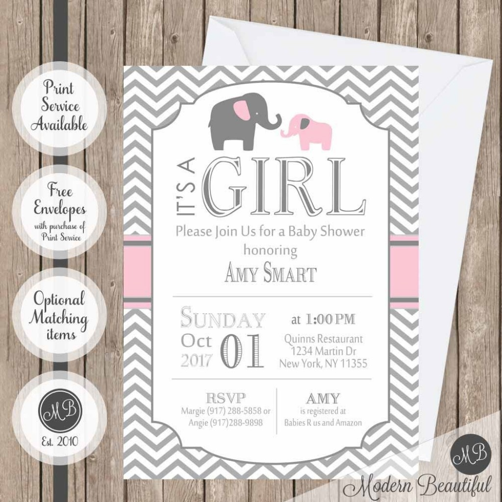 009 Incredible Elephant Baby Shower Invitation Girl Pink High Resolution Large