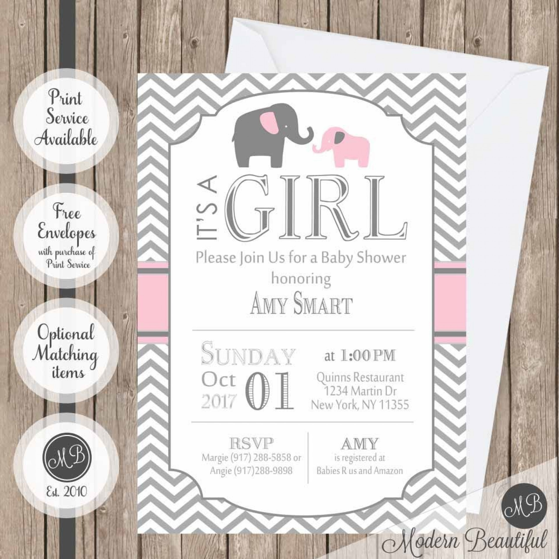 009 Incredible Elephant Baby Shower Invitation Girl Pink High Resolution 1920