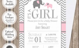 009 Incredible Elephant Baby Shower Invitation Girl Pink High Resolution