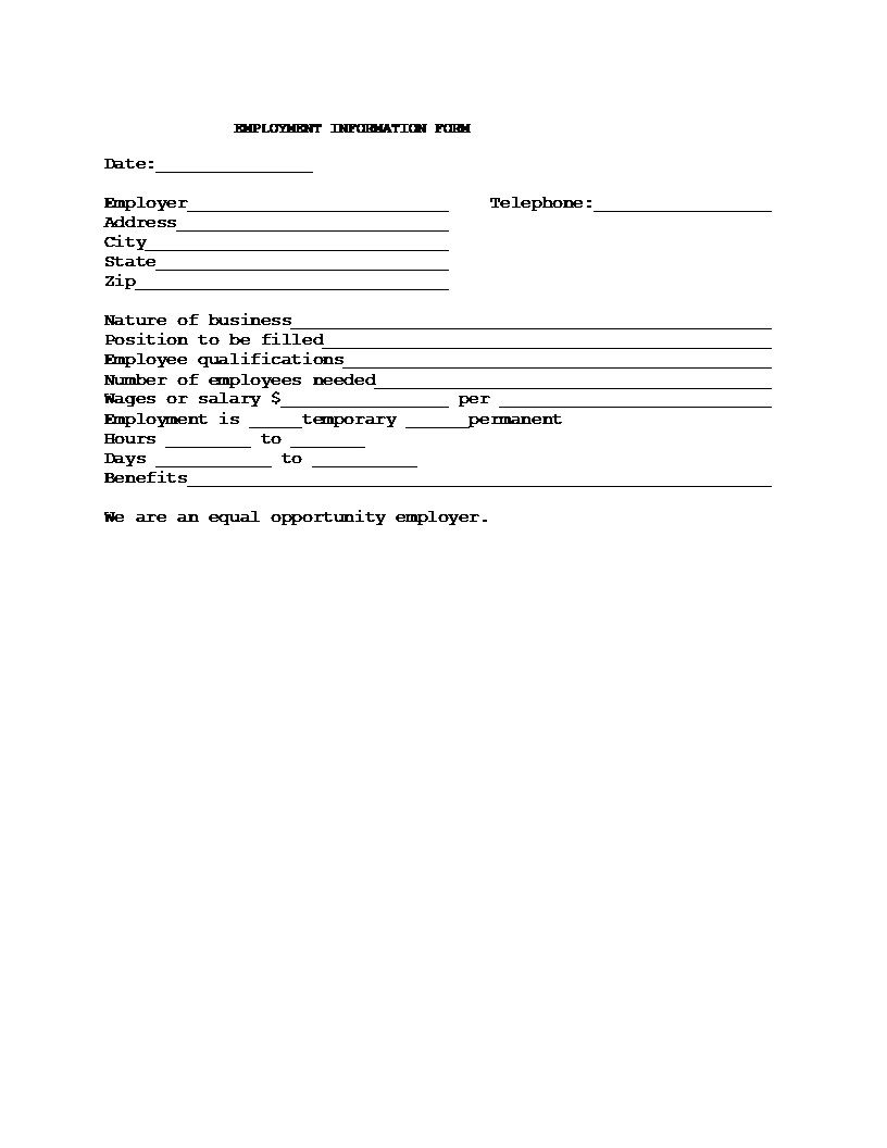 009 Incredible Employment Information Form Template Example  Employee Registration Free Download Application Malaysia WordFull