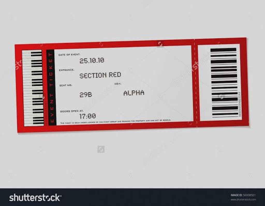 009 Incredible Free Concert Ticket Template Printable Picture  GiftLarge