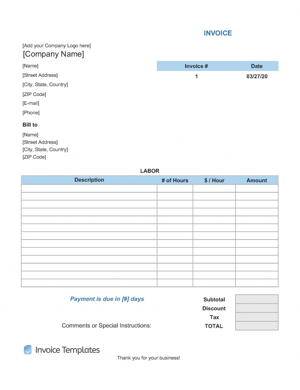 009 Incredible Free Service Invoice Template Example  Microsoft Word Printable FormLarge
