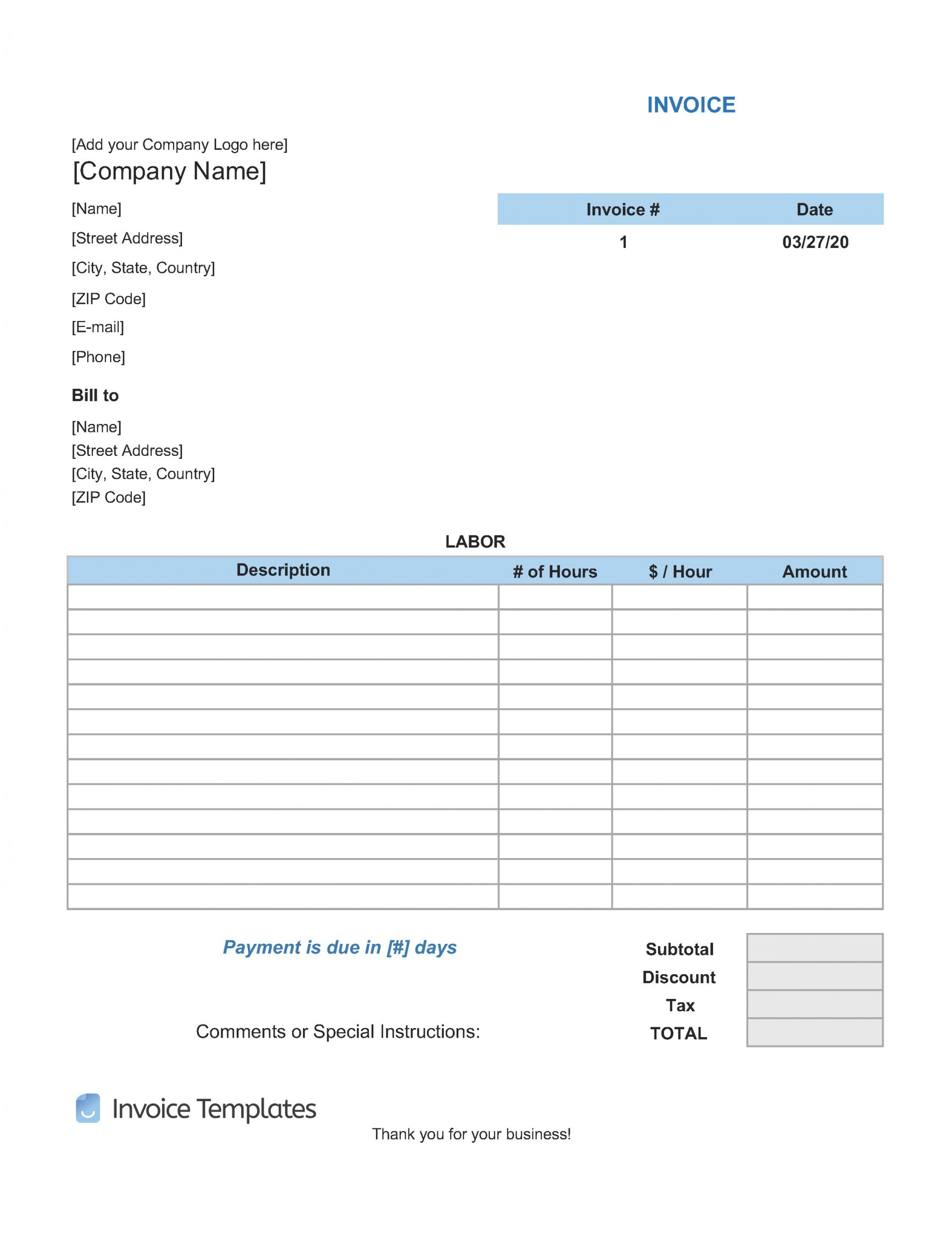 009 Incredible Free Service Invoice Template Example  Microsoft Word Printable Form1920