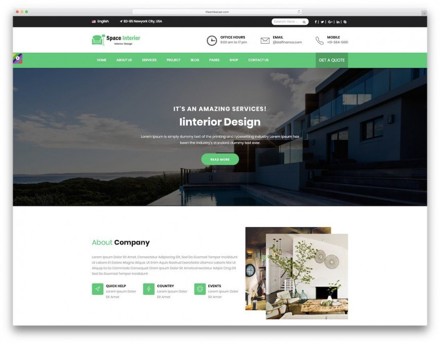 009 Incredible Interior Design Website Template Inspiration  Templates Themeforest Arczone - Decor Architecture Html Free Download