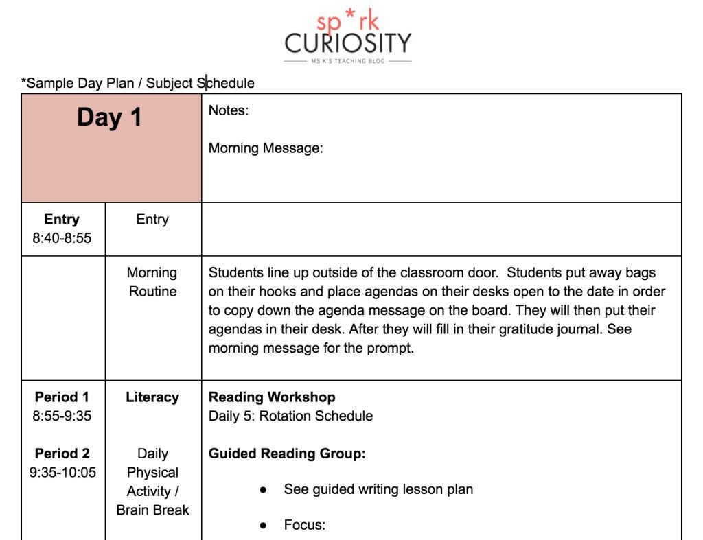 009 Incredible One Day Lesson Plan Template High Definition  Example FormatLarge