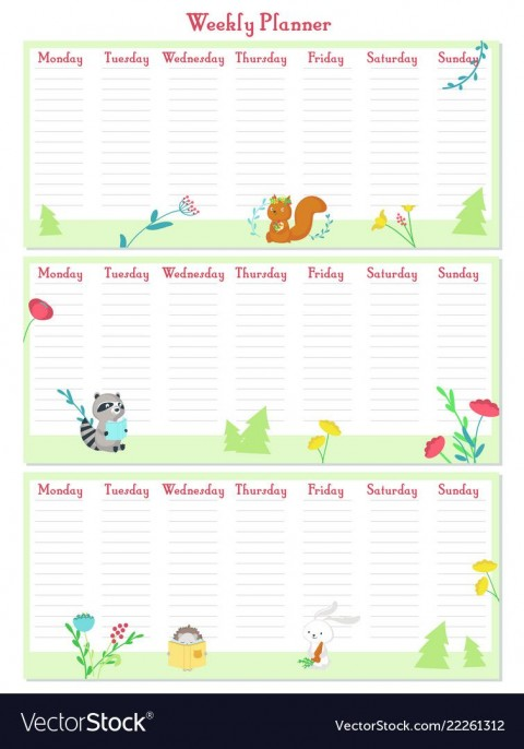 009 Incredible Printable Weekly Planner Template Cute Highest Clarity  Free Calendar480