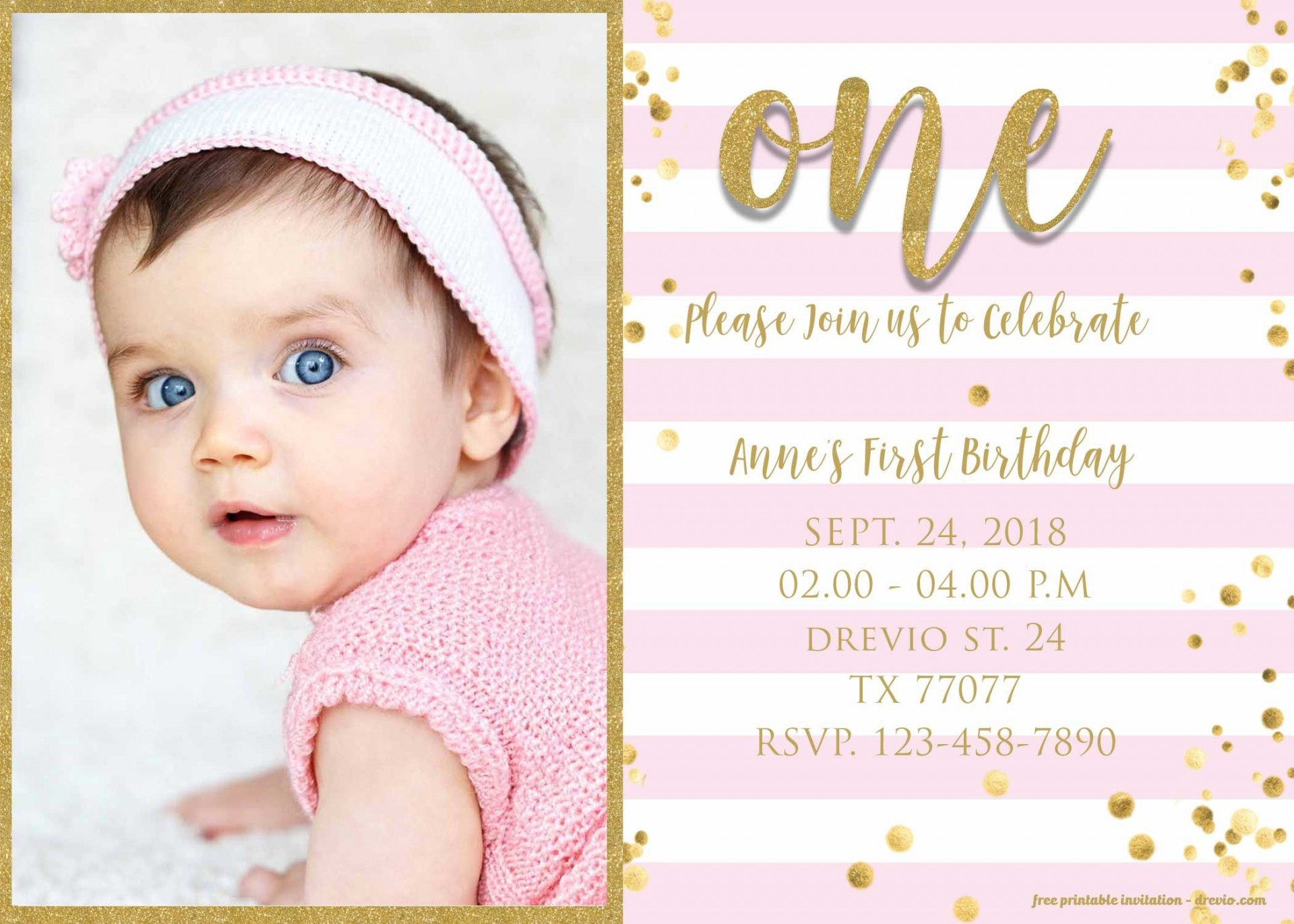 009 Magnificent 1st Birthday Invitation Template Concept  Background Design Blank For Girl First Baby Boy Free Download Indian1920