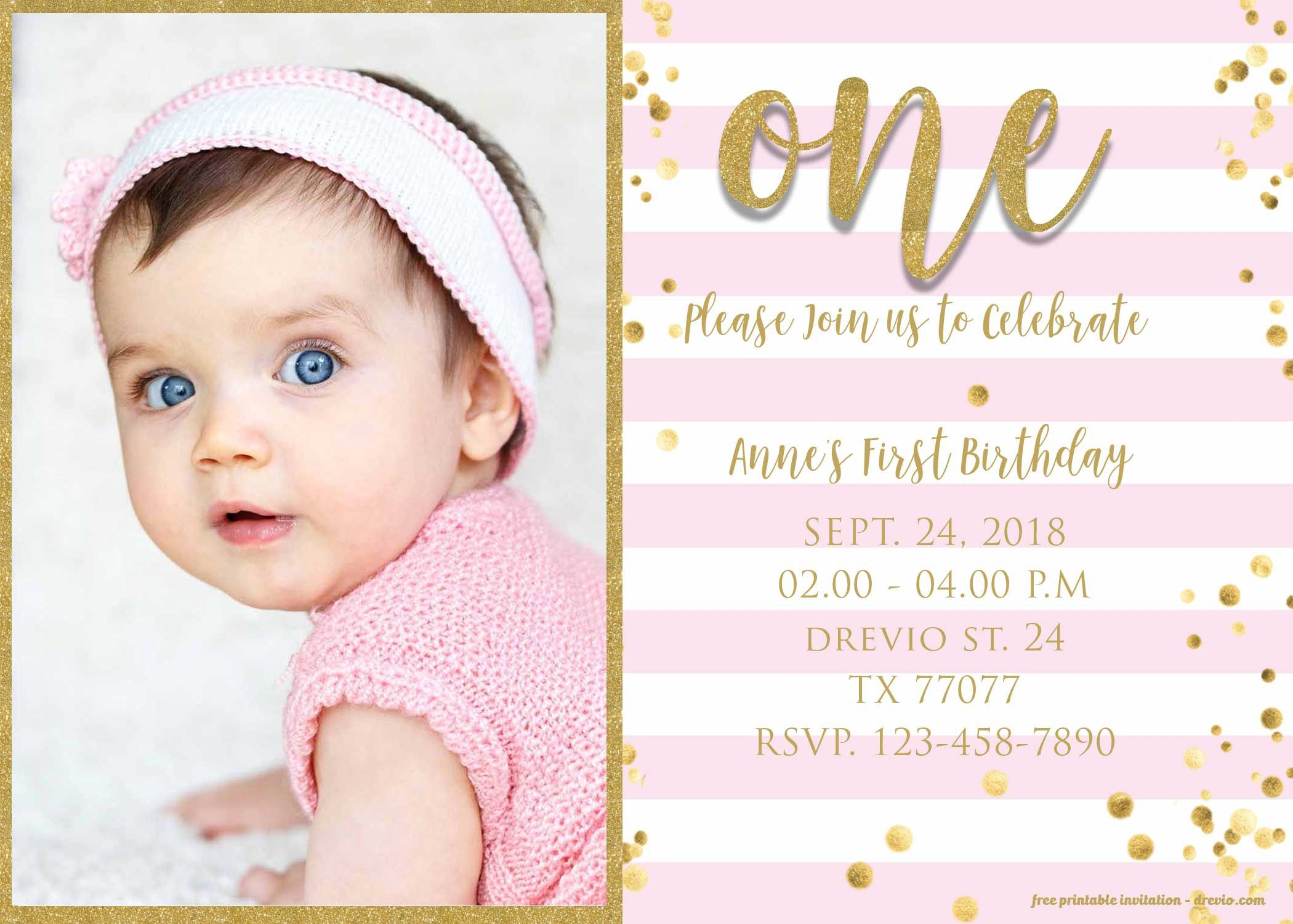 009 Magnificent 1st Birthday Invitation Template Concept  Background Design Blank For Girl First Baby Boy Free Download IndianFull