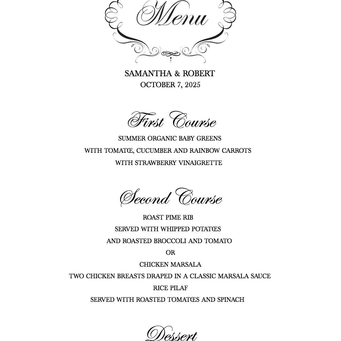 009 Magnificent Free Printable Wedding Menu Card Template High Def Full
