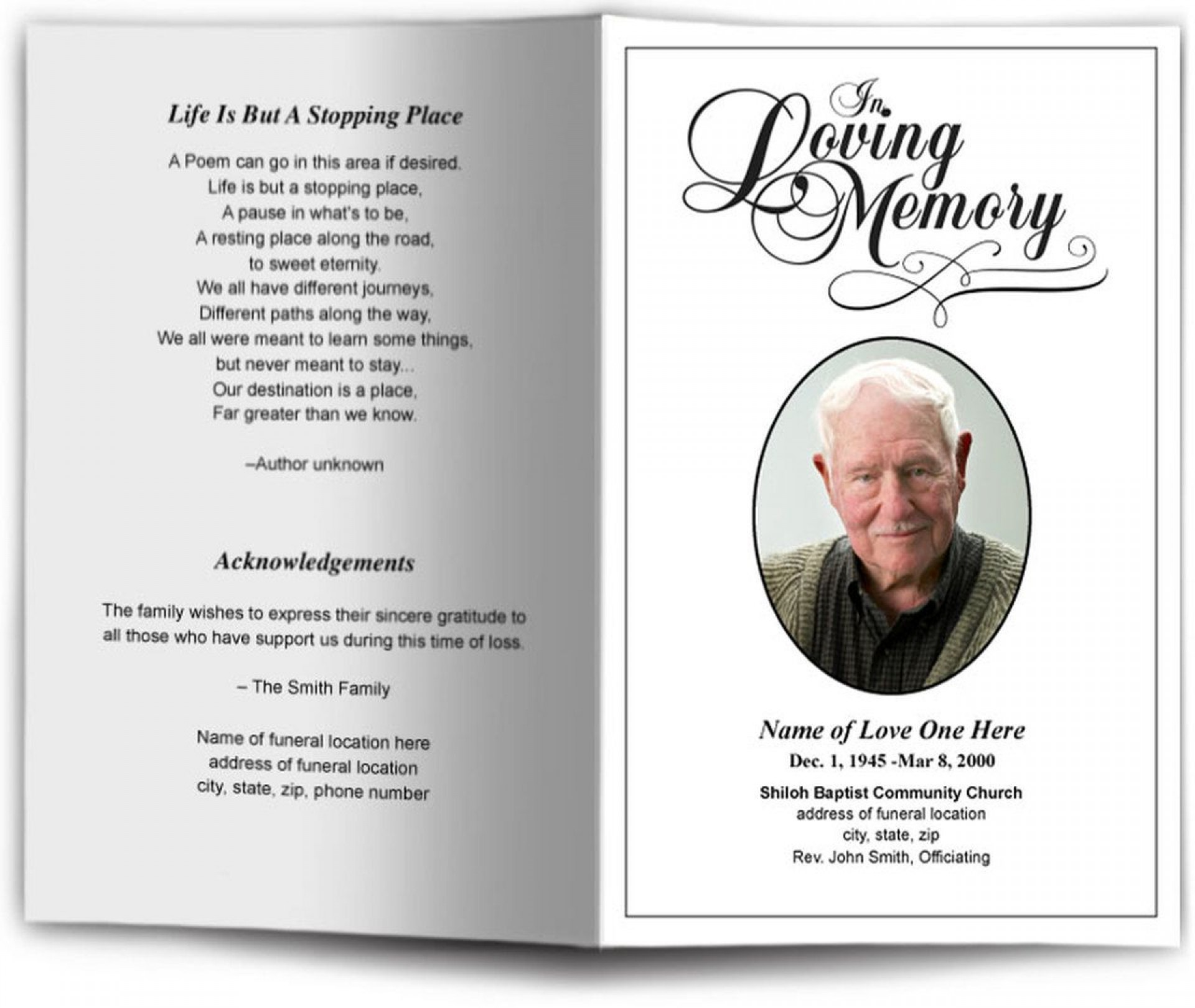 009 Magnificent In Loving Memory Template Example  Bookmark Free Download Meme1920