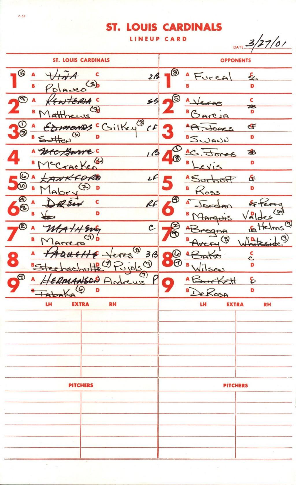 009 Magnificent Little League Lineup Card Template Sample  BaseballLarge