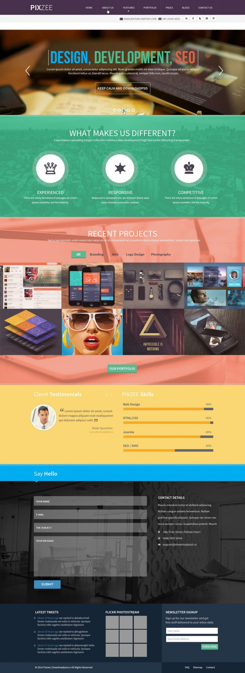 009 Magnificent One Page Website Template Psd Free Download Highest Clarity Large