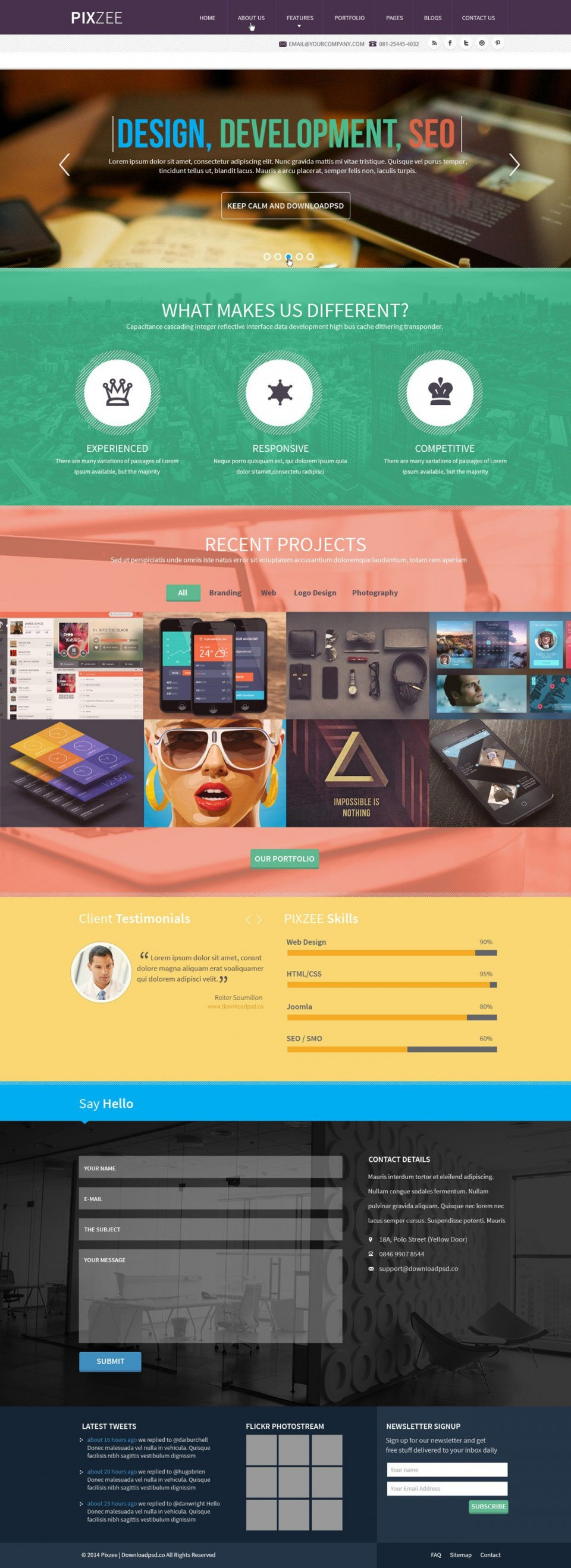 009 Magnificent One Page Website Template Psd Free Download Highest Clarity 960