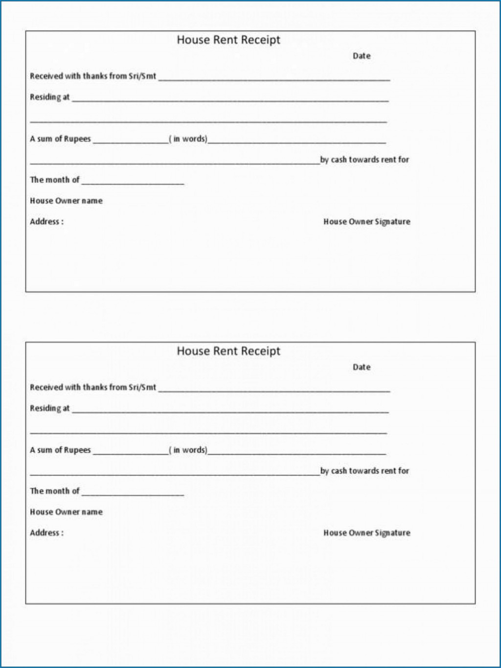 009 Magnificent Rent Receipt Template Doc Example  House Format Download FreeLarge