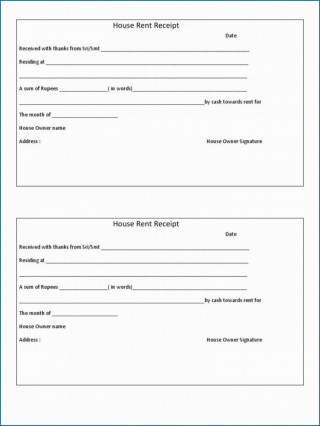 009 Magnificent Rent Receipt Template Doc Example  House Format Download Free320