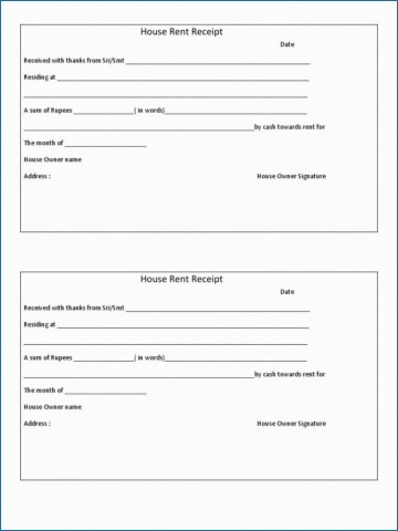 009 Magnificent Rent Receipt Template Doc Example  House Format Download Free360
