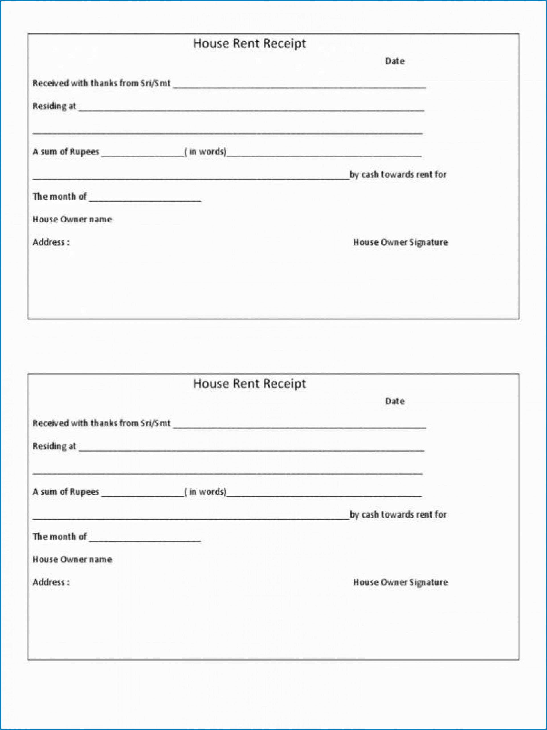 009 Magnificent Rent Receipt Template Doc Example  House Format Download FreeFull