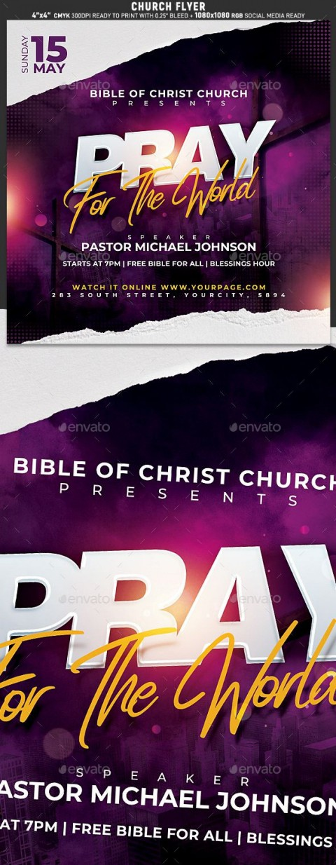 009 Marvelou Church Flyer Template Free Printable High Def  Event480