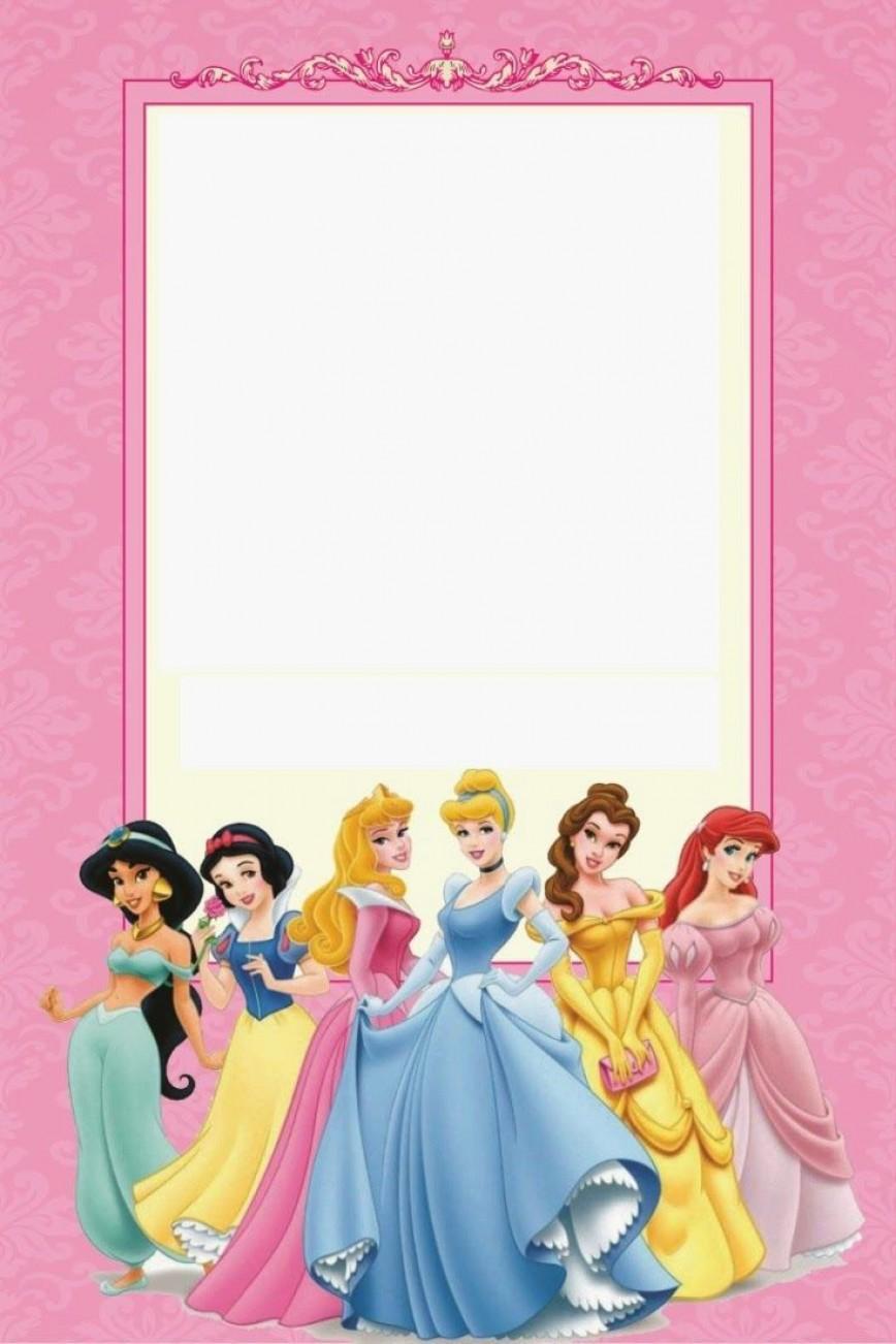 009 Marvelou Disney Princes Invitation Template Example  Party Birthday Free Editable