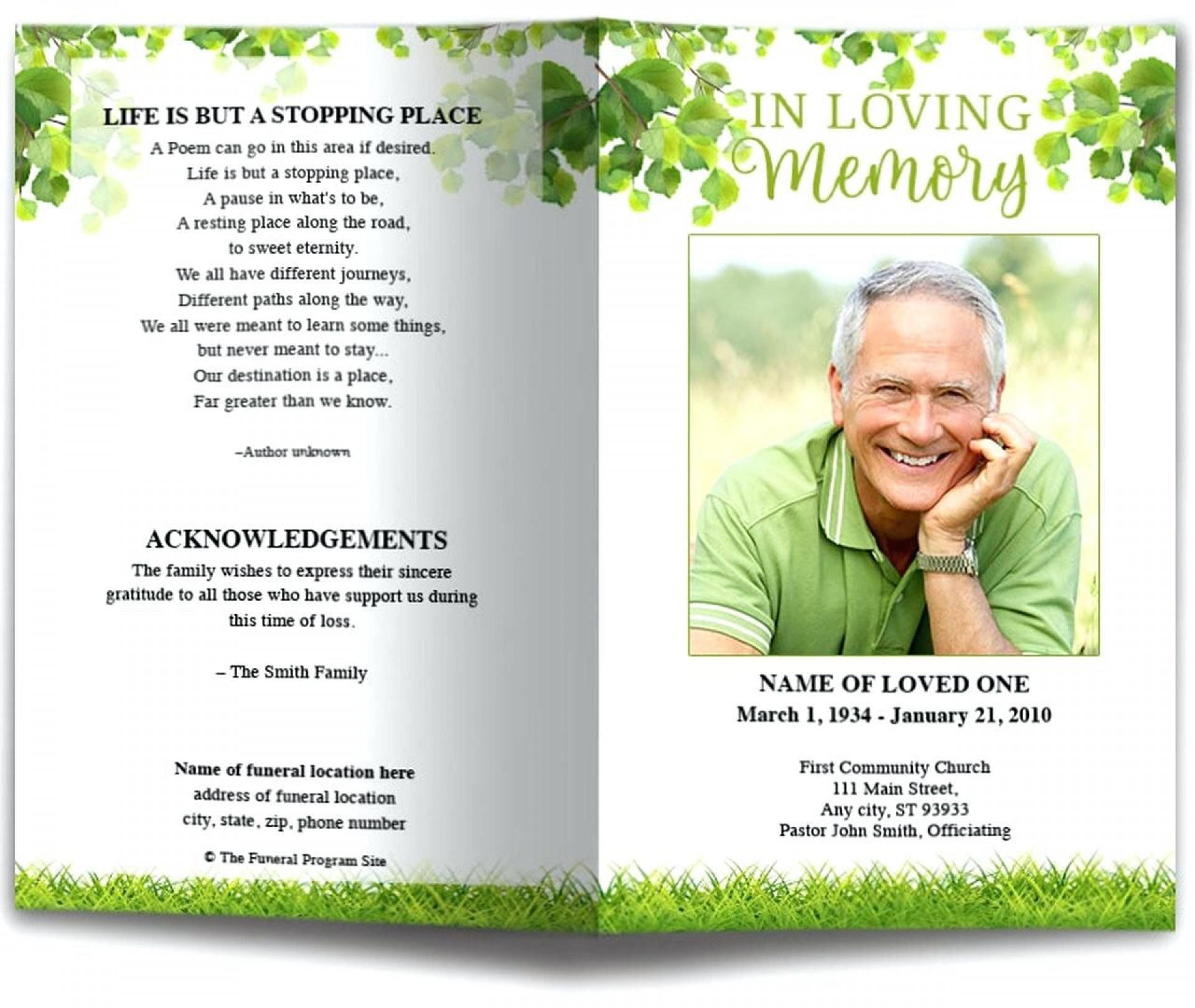 009 Marvelou Funeral Program Template Free Example  Online Printable Download Publisher1920