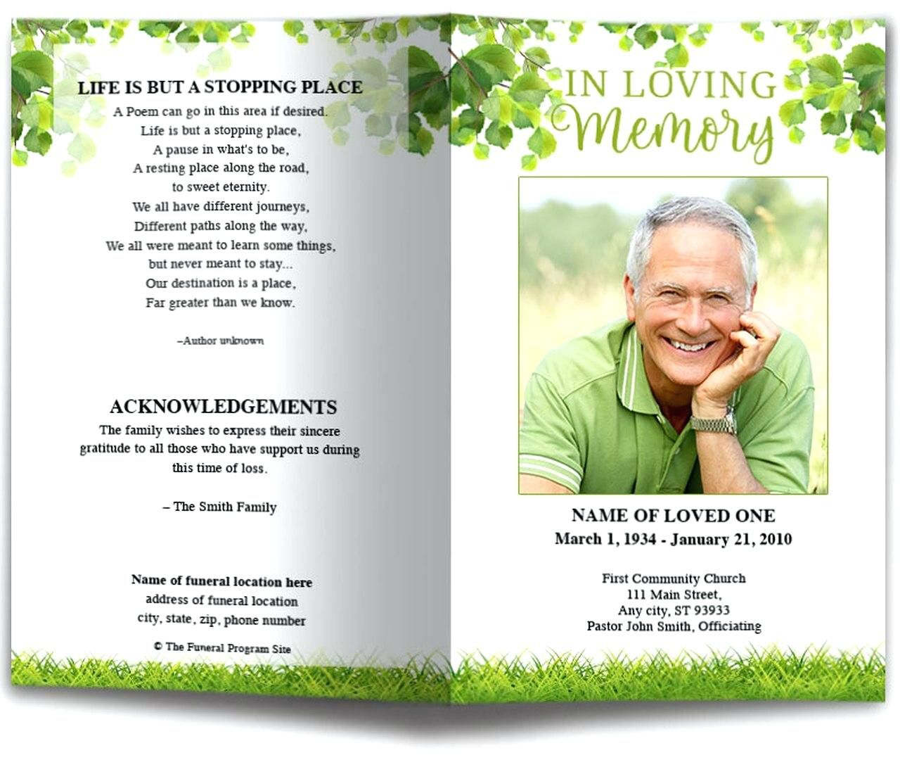 009 Marvelou Funeral Program Template Free Example  Online Printable Download PublisherFull