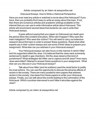 009 Marvelou Holocaust Essay Photo  Thesi Hook Contest 2020320