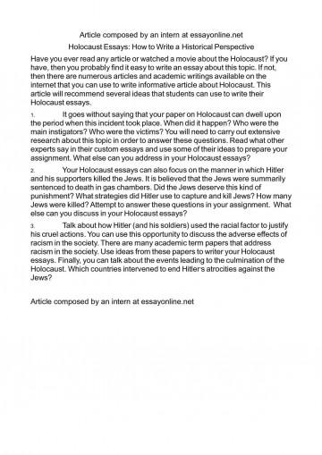 009 Marvelou Holocaust Essay Photo  Thesi Hook Contest 2020360