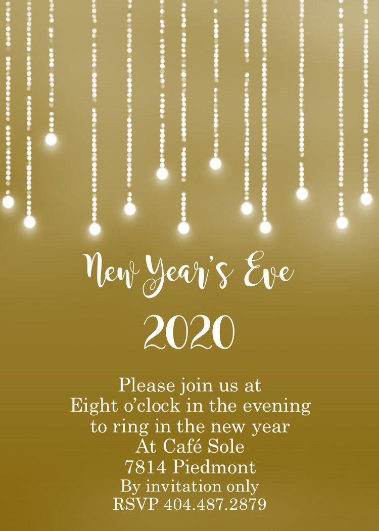 009 Marvelou New Year Eve Invitation Template Photo  Party Free WordFull