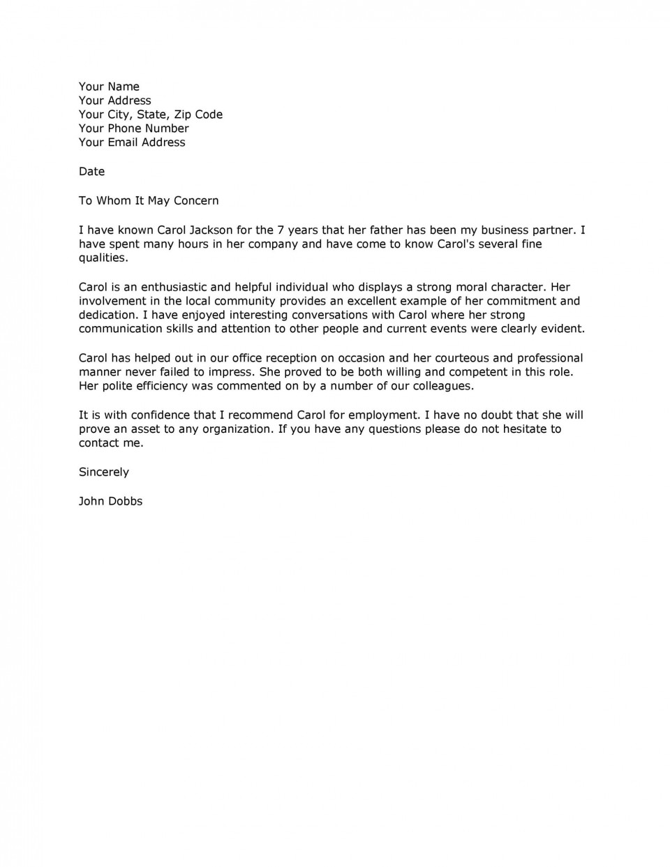 009 Marvelou Professional Reference Letter Template Design  Nursing Free Character960