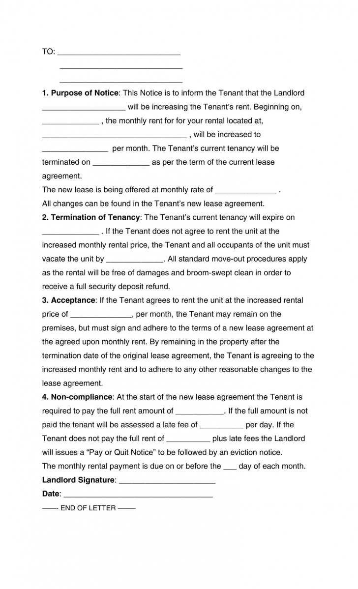 009 Marvelou Rent Increase Letter Template Concept  Rental South Africa Nz Scotland728