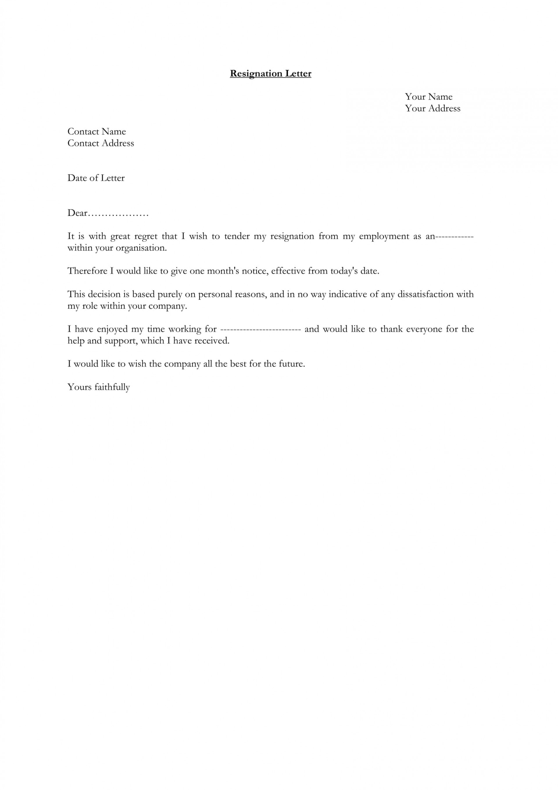 2 Week Notice Letter Template Word from www.addictionary.org