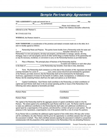 009 Outstanding Busines Partnership Contract Template Sample  Agreement Free Nz Word360