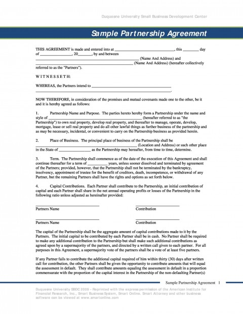 009 Outstanding Busines Partnership Contract Template Sample  Agreement Free Nz Word480