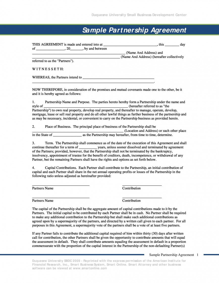 009 Outstanding Busines Partnership Contract Template Sample  Agreement Free Nz Word868