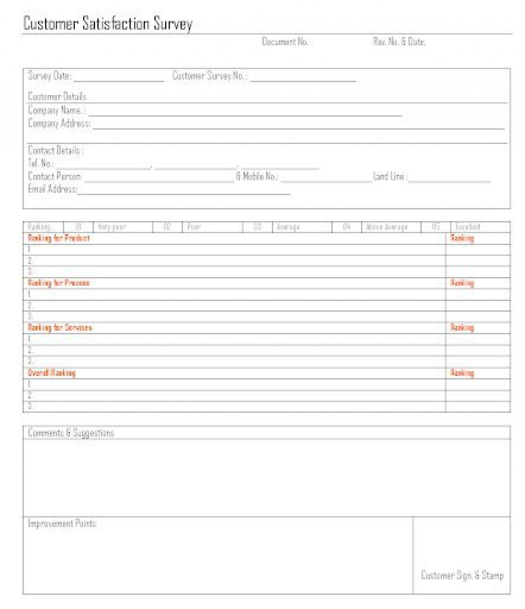 009 Outstanding Customer Satisfaction Survey Template Word Inspiration  Doc FormLarge