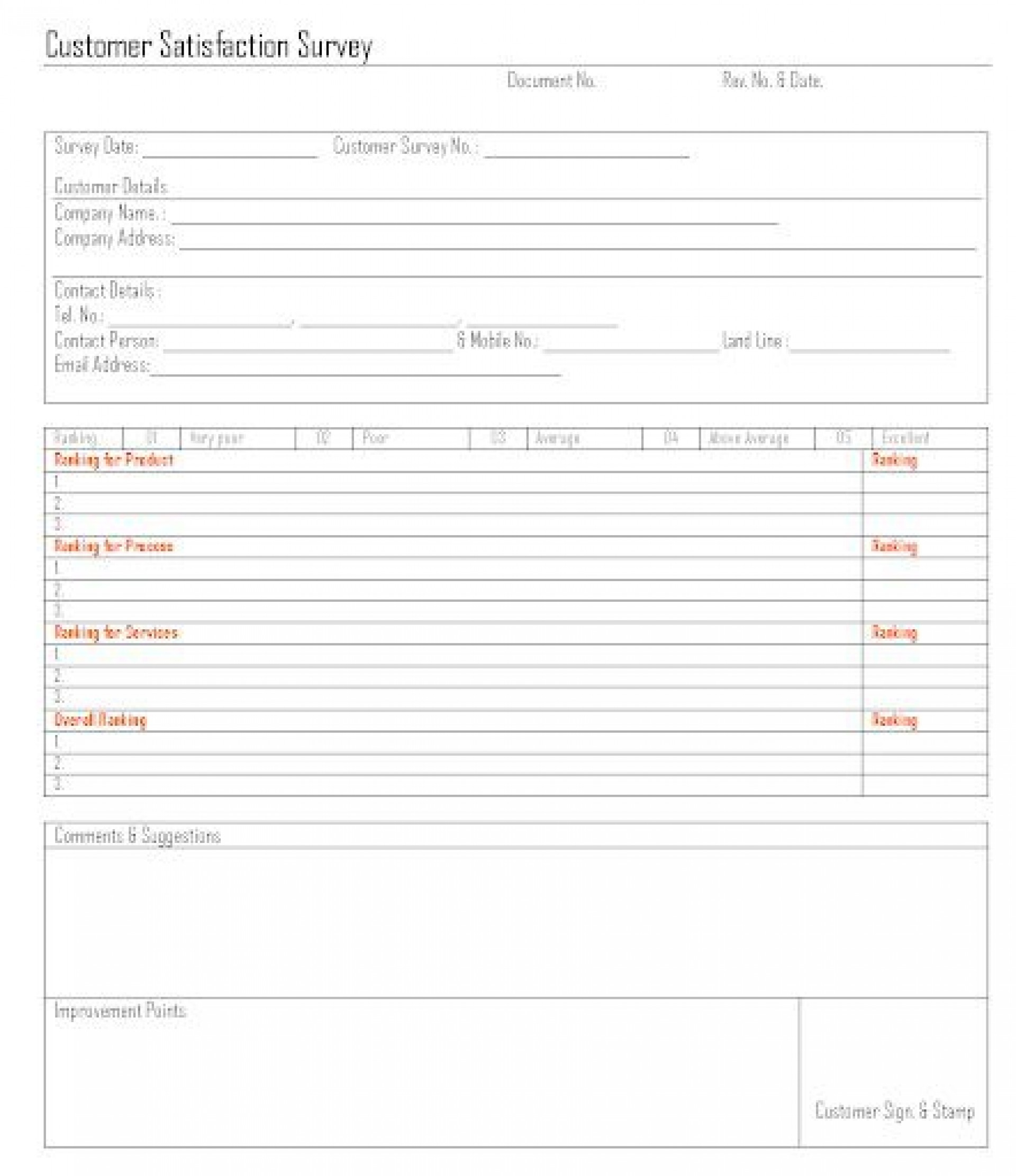 009 Outstanding Customer Satisfaction Survey Template Word Inspiration  Doc Form1920