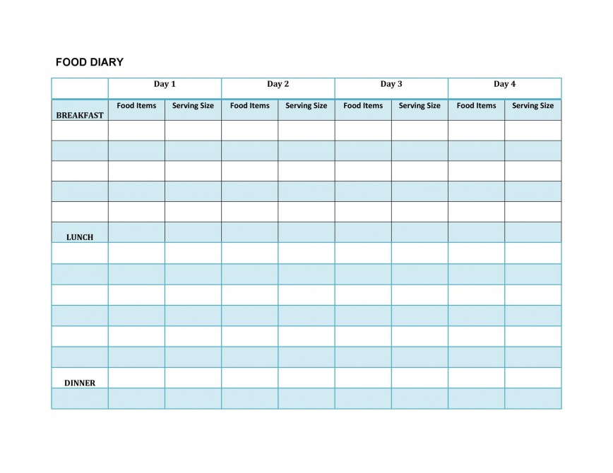 Food Diary Template Excel Addictionary