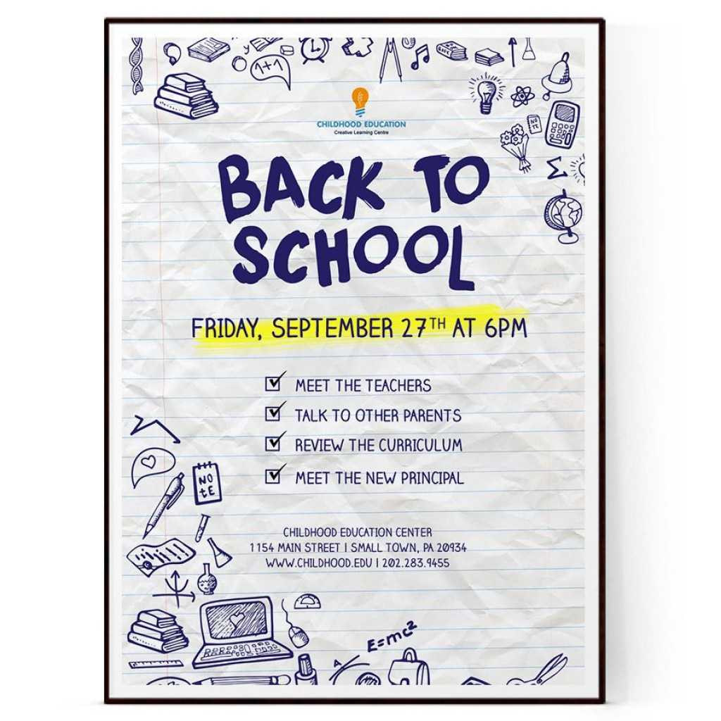009 Outstanding Free Back To School Flyer Template Word Photo Large