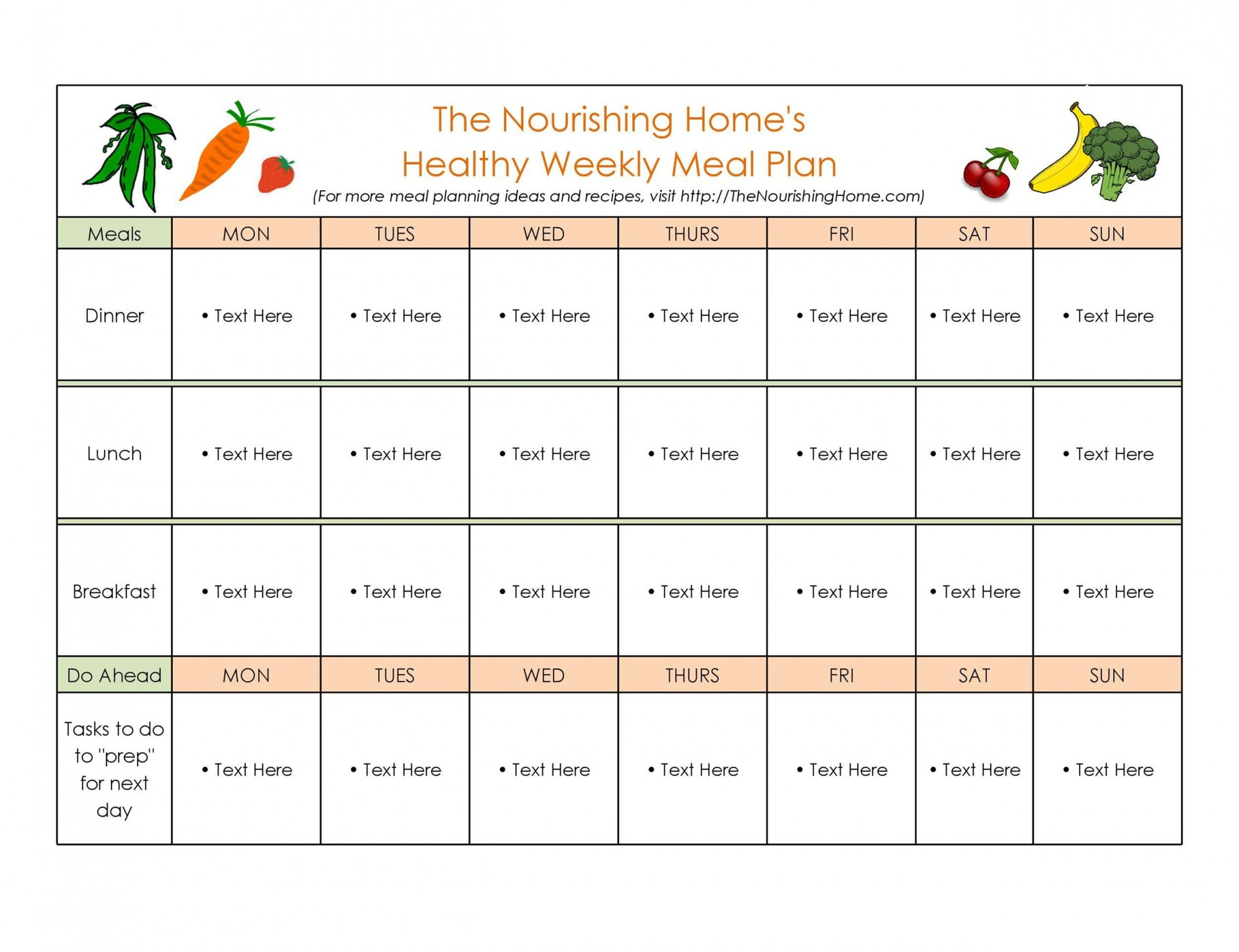 009 Outstanding Free Meal Planner Template Word Idea  Editable Weekly Monthly1920