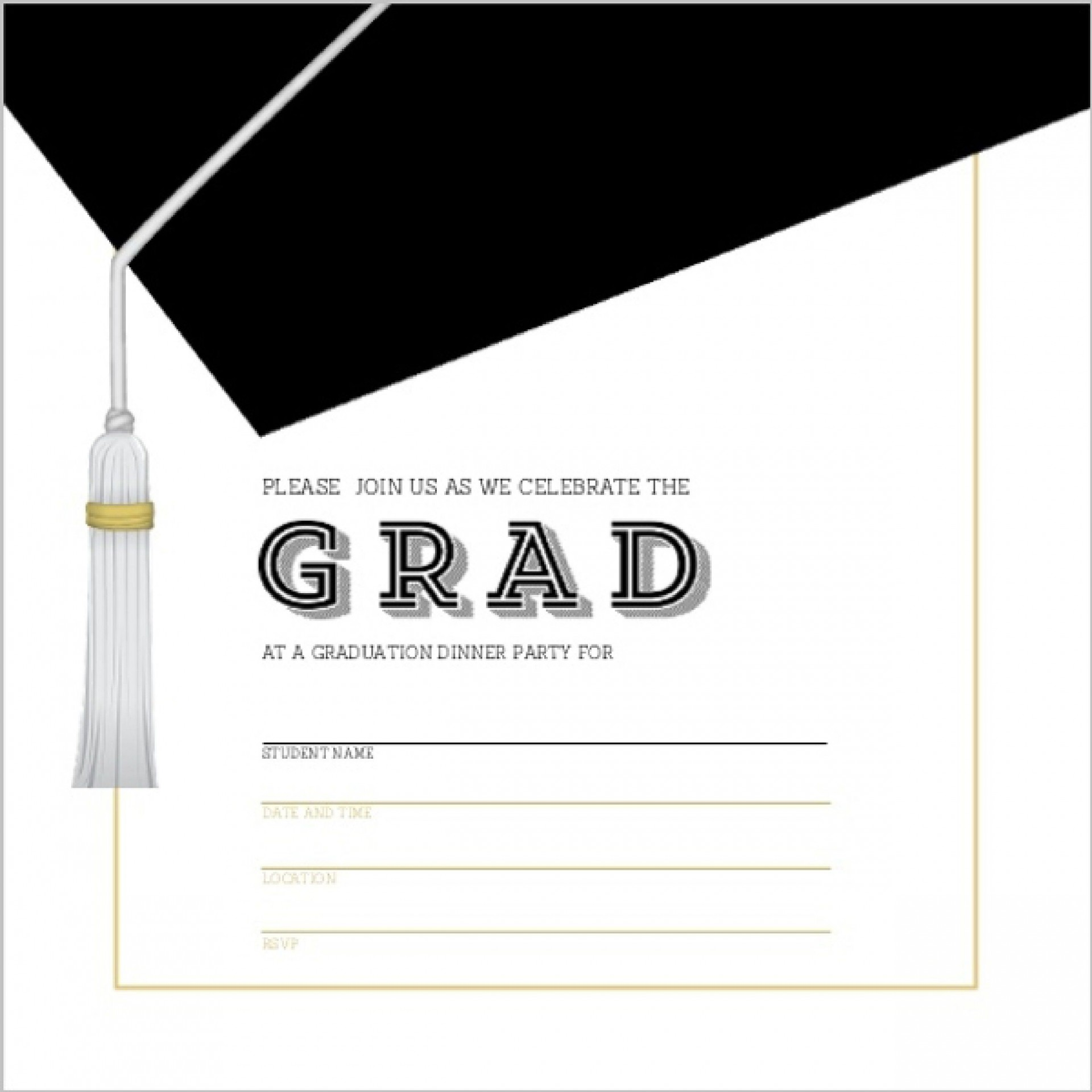 009 Outstanding Free Printable Graduation Invitation Template Example  Party For Word1920