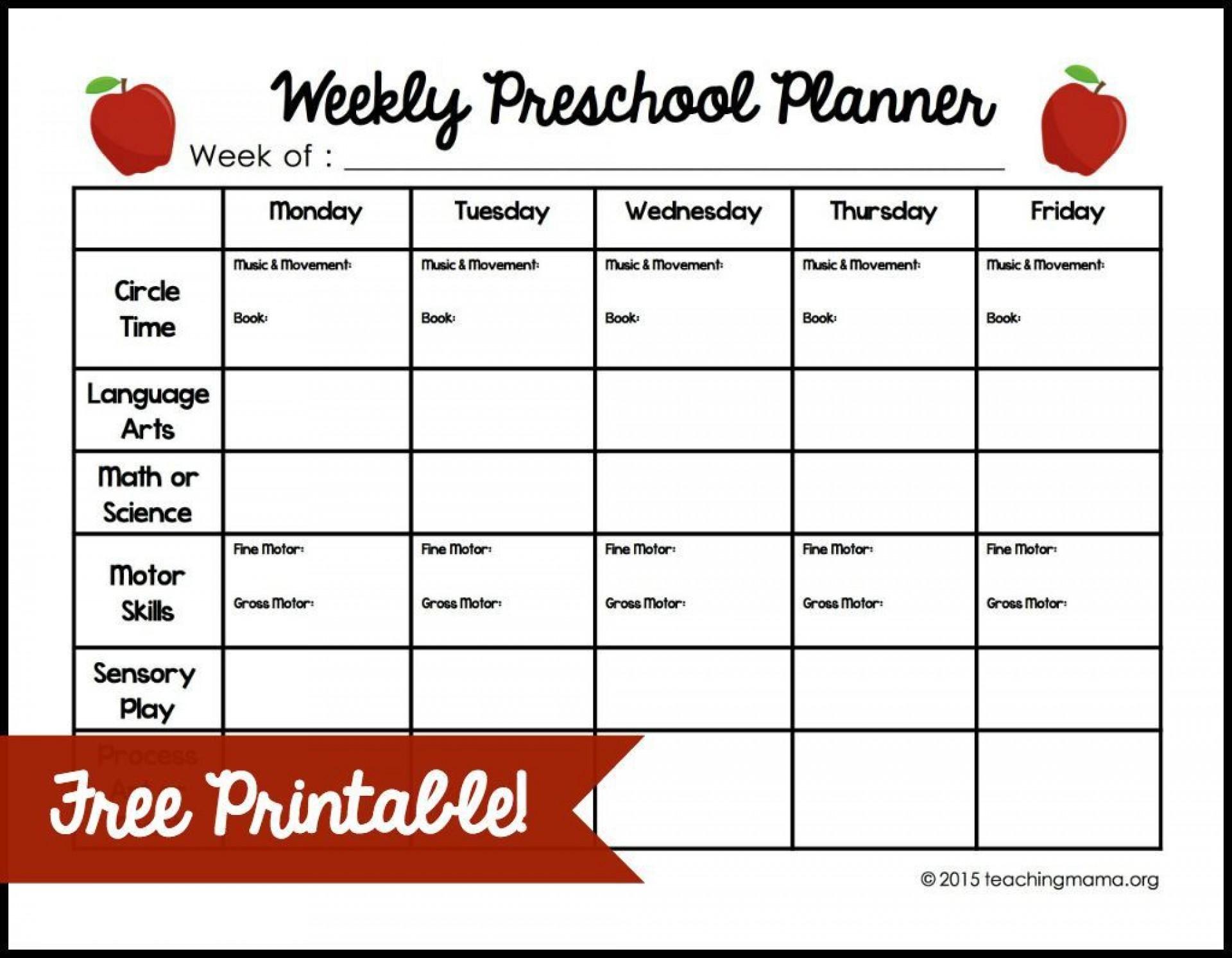 009 Outstanding Free Printable Preschool Weekly Lesson Plan Template Design  Kindergarten1920